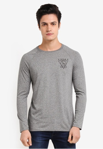 Burton Menswear London grey Grey Long Sleeve Raglan T-Shirt With Chest Print BA8B6AA95DAF8CGS_1