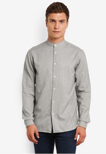 Selected Homme grey Long Sleeve Herringbone Shirt SE364AA0RMD2MY_1