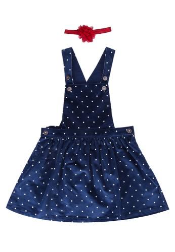 LC Waikiki navy Girls Spotty Velvet Overall Dress With Headband 35DC2KAAEAD368GS_1