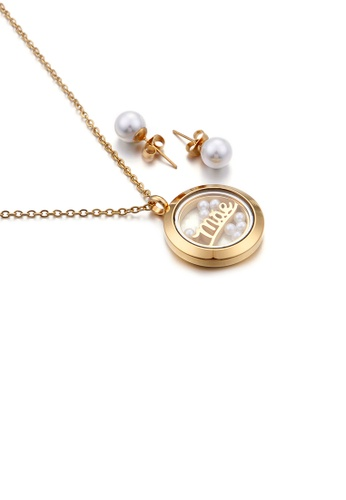 Glamorousky white Fashion and Elegant Plated Gold Mae Geometric Round Imitation Pearl 316L Stainless Steel Necklace and Stud Earrings Set 96C9FAC0A4AE6DGS_1