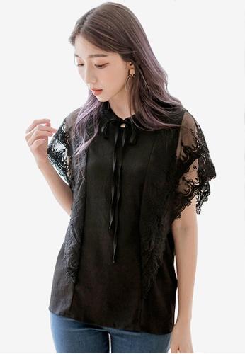 Sesura black Fluttery Heart Lace Top 929F6AA8638330GS_1