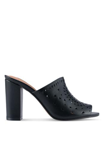 ZALORA 黑色 鏤空魚口穆勒鞋 480F7SH19CFEBBGS_1