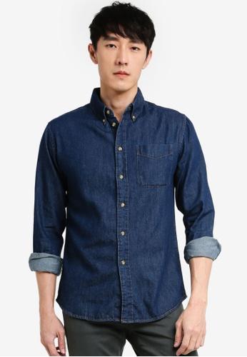 threads by the produce blue Button Down Long Sleeve Shirt 25E1AAA1E9CFCDGS_1