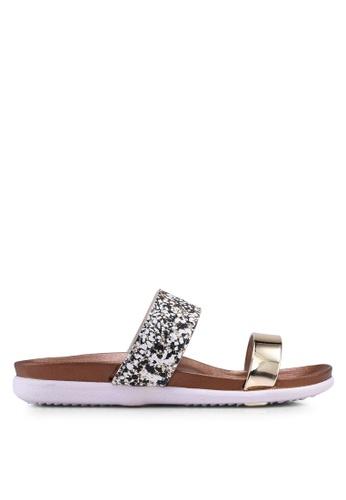 Carlton London gold Dual Strap Sandals 4E6E9SH1BE1489GS_1