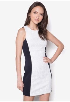 Textured Colourblocked Fitted Dress