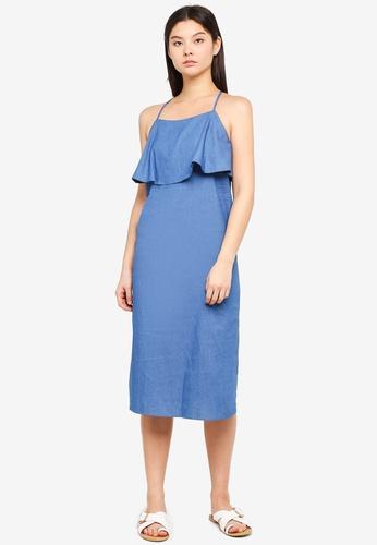 Something Borrowed blue Layered Midi Dress 9E307AA300F0ADGS_1