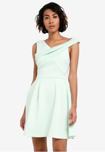 Miss Selfridge green Premium Cross Neck Scuba Dress MI665AA0RV1OMY_1