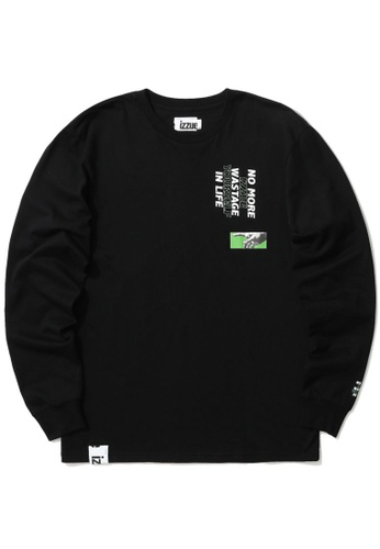 izzue black Graphic logo sweatshirt D0596AA0612DBEGS_1