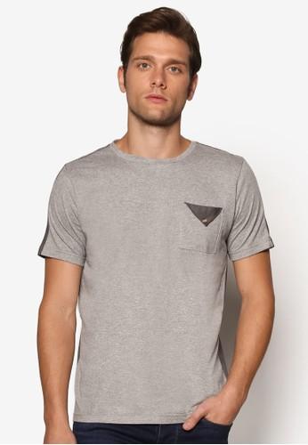 esprit台灣官網拼色口袋TEE, 服飾, 素色T恤