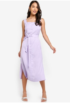 b7d7bf972151 ZALORA purple Square Neck Button Detail Dress CA3C4AA0699D8DGS_1