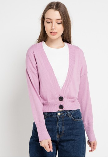 Peponi pink Horn Button Cardigan 89D14AAFF01ADAGS_1