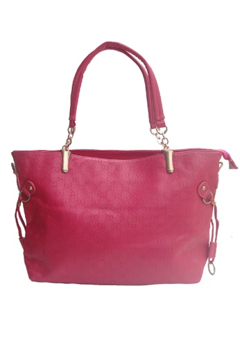 LULUGIFT pink European Chain PU Leather Strap 2n1 Set Rose Bag LU989AC52YEHMY_1