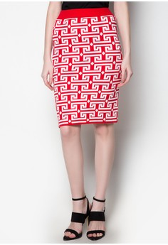 Midi Knitted Skirt Puzzle Printed Design