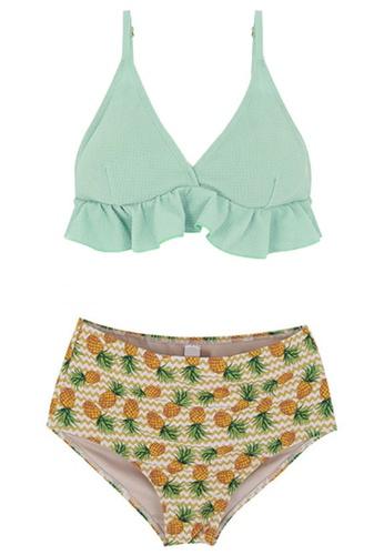 Halo green Ruffle Bikini Swimsuit 17240USD6D2A51GS_1