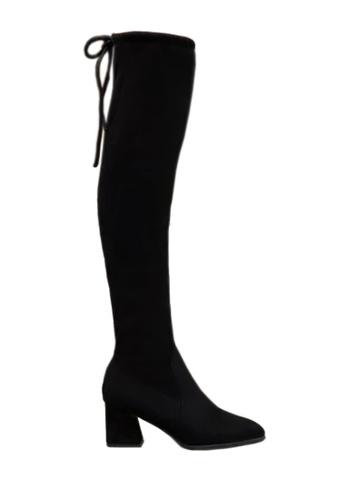 Twenty Eight Shoes 黑色 梯形中跟尖頭過膝靴 VB116 02F30SH73BEF43GS_1
