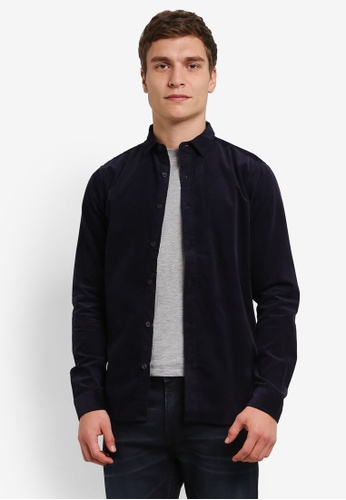 Only & Sons navy Only & Sons Toure Corduroy Shirt ON662AA0S498MY_1