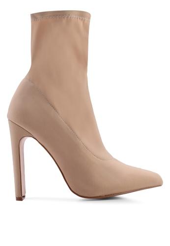 Public Desire 米褐色 Maven Set 後Heel Sock Fit Ankle Boots E27D8SH1D30CD3GS_1