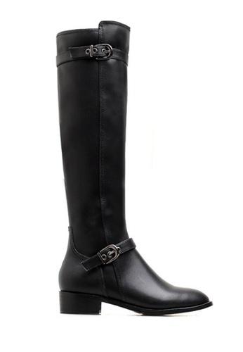 Twenty Eight Shoes 黑色 牛皮雙皮帶扣騎士靴VB6196 075A8SH807FC32GS_1