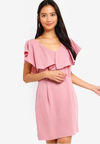 ZALORA pink Ruffles Sleeves Sheath Dress C5B73AA6CD2E40GS_1