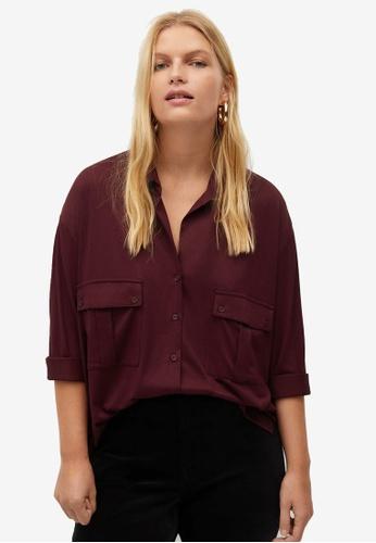 Violeta by MANGO red Plus Size Pockets Flowy Shirt B6D0BAAC91CAD0GS_1