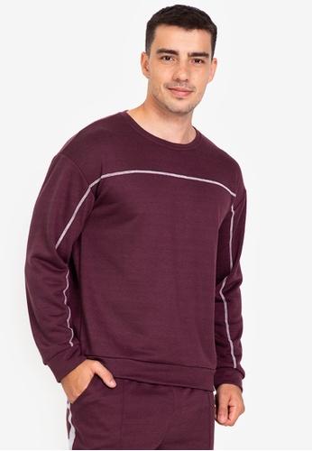 ZALORA BASICS purple Contrast Thread Sweater 06908AAB916EE1GS_1
