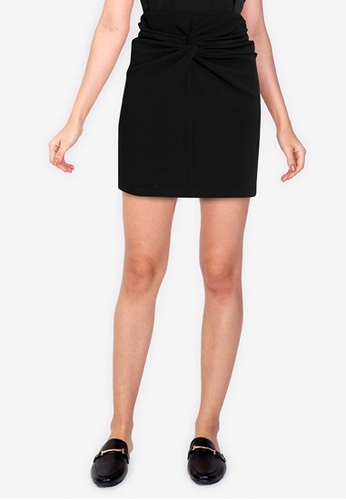 ZALORA WORK black Mini Skirt With Knot 0FD75AA3636FC2GS_1