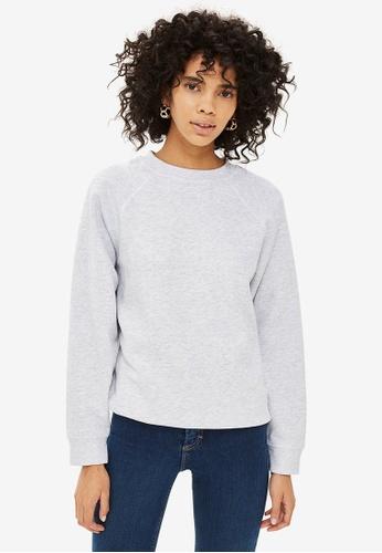 TOPSHOP grey Petite Flatlock Sweatshirt 1C628AADD09EACGS_1