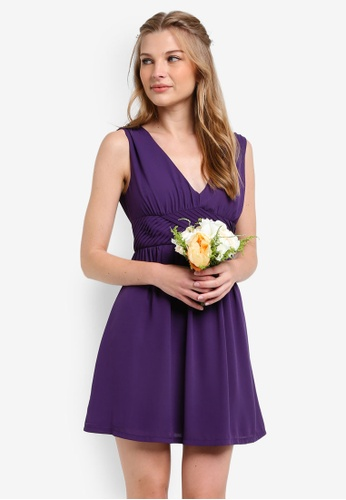 ZALORA purple Bridesmaid Cross Front Mini Dress FCFCFAA2534835GS_1