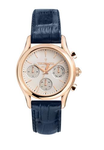 Trussardi blue T-Light Quartz Watch R2451127001 Blue Leather Strap 291D7ACB1D92D0GS_1