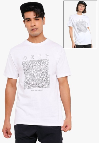 OBEY white Creative Dissent Tee C59CEAAB6DCC10GS_1