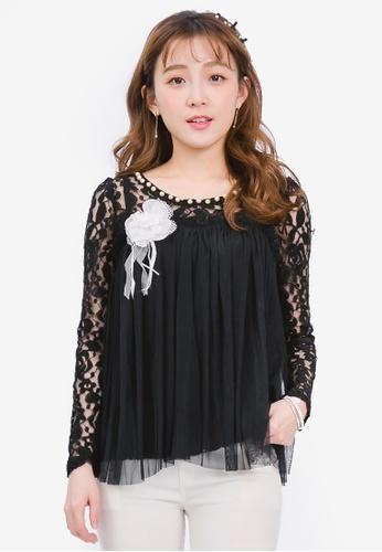 YOCO black Tulle Overlay Lace Top YO696AA0SAJ0MY_1