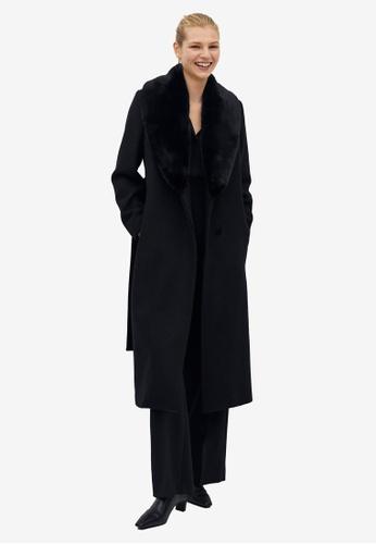Mango black Removable Fur Collar Wool Coat 9B857AA0C2D0C9GS_1