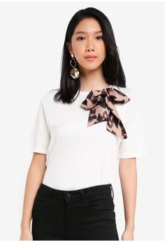 White Leopard Print Bow Detail T-Shirt