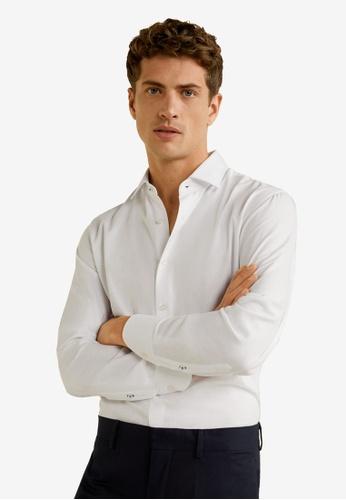 MANGO Man 白色 Regular Fit Cotton Tailored Shirt 60D78AA476F86BGS_1