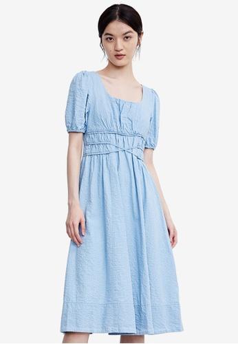 URBAN REVIVO blue Textured Midi Dress 5C1C1AA557BD59GS_1