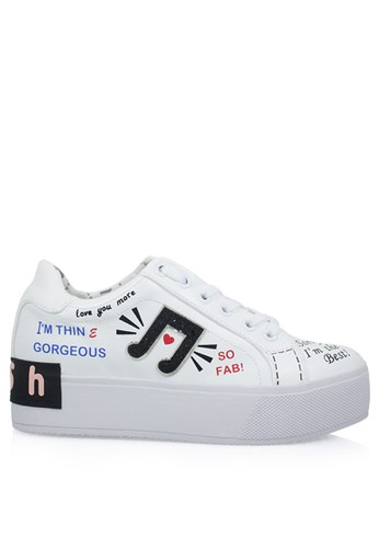 Bolzano-298 Graffiti Sneakers - White - GOSH 51da850e3a