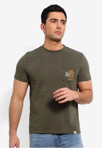 OVS 綠色 印花Mis Dyed T恤 D5C9DAAC0DE1A8GS_1