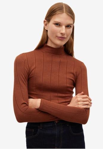 Mango brown Ribbed Long Sleeve T-Shirt E5A0FAA9F06F8DGS_1