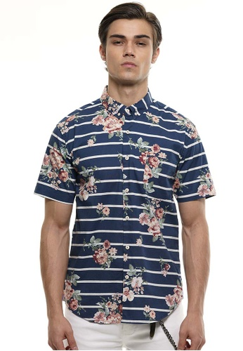 Private Stitch blue Private Stitch Men Casual Short Sleeve Slim Fit Cotton Floral Shirt F8911AA49B33D8GS_1