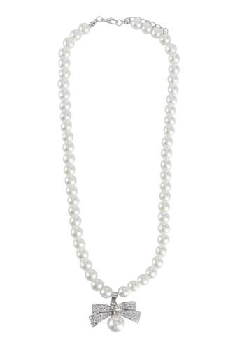 閃鑽蝴蝶結珍珠項鍊, 飾品配esprit 台中件, 絕美洋裝