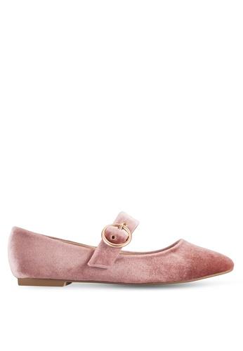 ZALORA pink Velvet Mid Strap Ballerinas 59493SHE136AAFGS_1