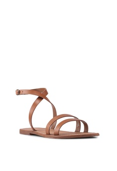 e0058a663 Mango brown Leather Straps Sandals 37AD2SH82D3168GS 1 Mango Leather Straps  Sandals RM 177.90. Available in several sizes