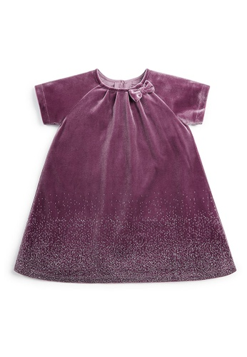 Mamas and Papas purple Velvet Glitter Dress 39095KAFB7751AGS_1