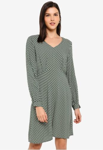 ICHI green Alona Printed Dress 3FFE5AADE0E85DGS_1