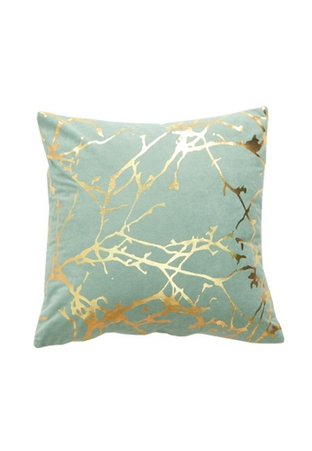 DILAS HOME Tree Branch Gold Print Cushion Cover (Dusty green) 79F41HL659237AGS_1