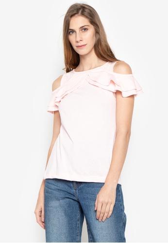 moondaze pink Angel Double Ruffle Cold Shoulder Top 0B98EAA4AF1789GS_1