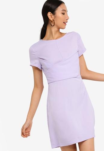 ZALORA purple Wrap Front Dress B5AD1AA0DA755CGS_1
