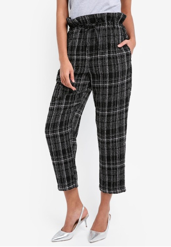 TOPSHOP black Frill Paper Bag Checkered Trousers TO412AA0SLD6MY_1