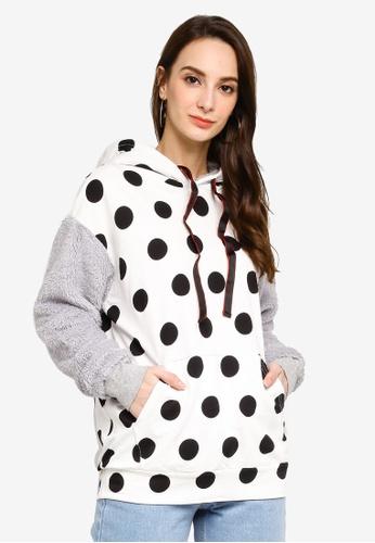 UniqTee white Polka Dot Fluffy Sleeve Hoodies 444E4AA0A0C2F2GS_1