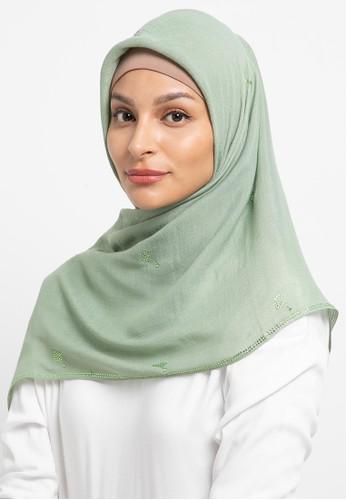 KASHKHA green Hijab Chiffon Stone Work Logo CDD2CAAD33007BGS_1